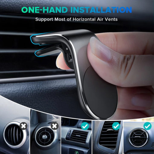 Hands Free Magnetic Car Phone Holder Universal Air Vent Mount Car Phone Mount With Super Strong Magnet L Type