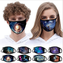 Cotton ski sublimation Starry sky mask Customized Logo Polyester Mask Reusable Washable Non-Disposable anti-dust facemask