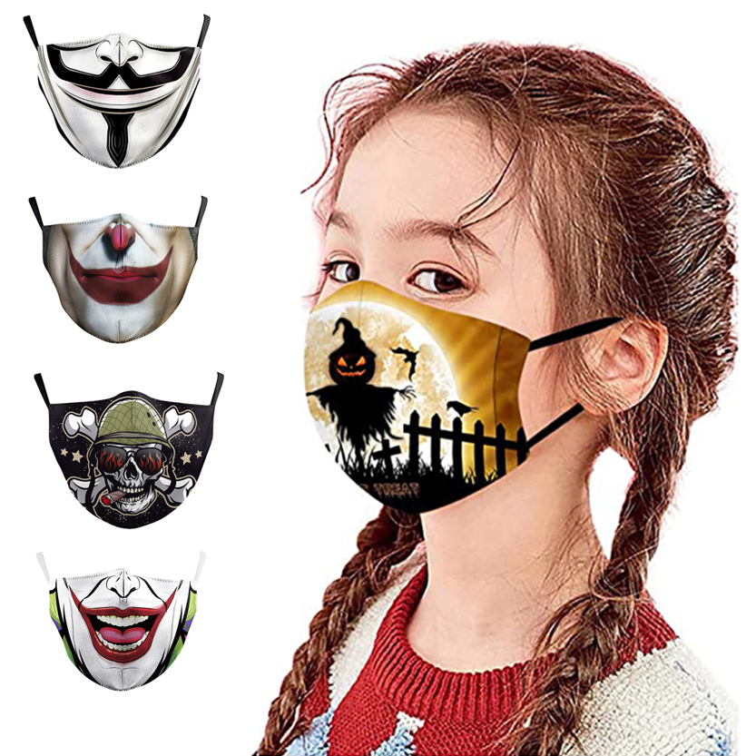 Fashion Adjustable Earloop 3D Facemask Sublimation Print Party Designer Kids Face Mask Use With Filter Washable Reusable Mask