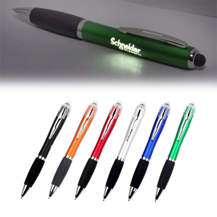 Led Light Up Gift Soft Touch Screen Ball Point Pen 3-in-1 touch screen ballpoint pen led flashlight Plastic Ballpen with led